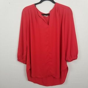 Pleione Tunic Shirt  Red Blouse Top